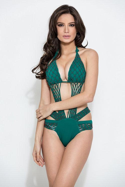 10027 Maillot de bain Trikini Filet vert