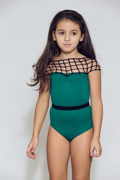 4558 Maillot de bain  enfant Vert filet noir