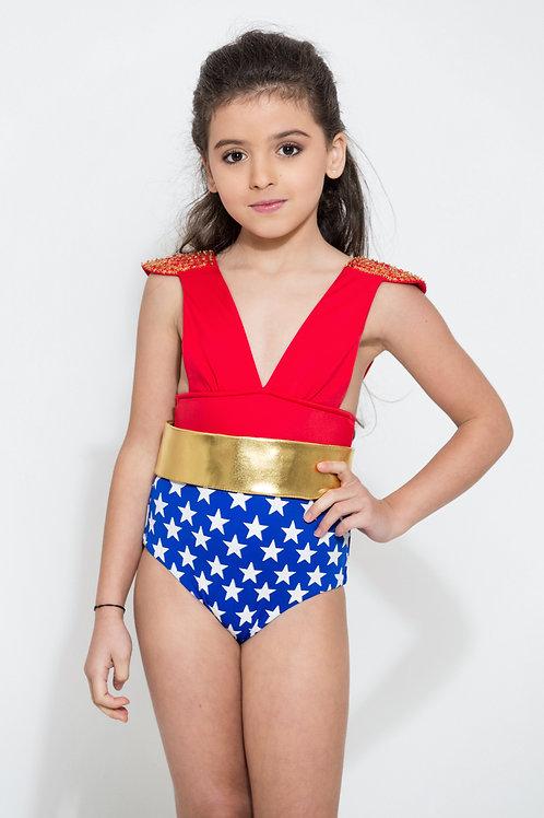 4550 Maillot de bain épaulette enfant wonderwoman