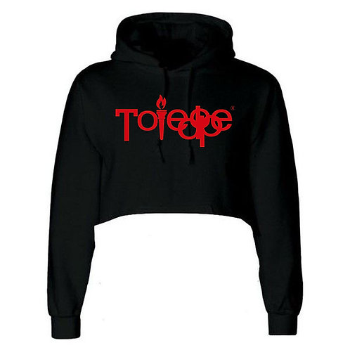 Crop Top  Hoodie ( Black and Red)