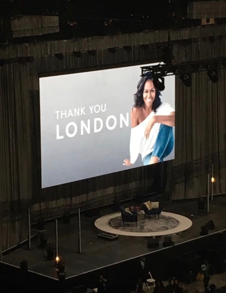 Final slide of Michelle Obama talk at The o2 London