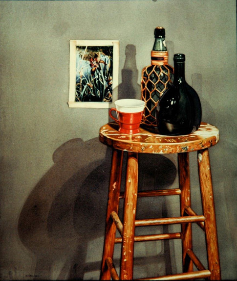 Red Cup Still Life with Typical Watercolor