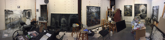Saint Street studio shot with selected oil painting starts from the latest series Reliquaries