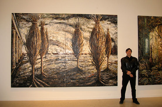 "Art Museum of South Texas in Corpus Christi, ""Courtyard of Bound Trees"", 2001-04, oil on linen, 100"" x 144"""