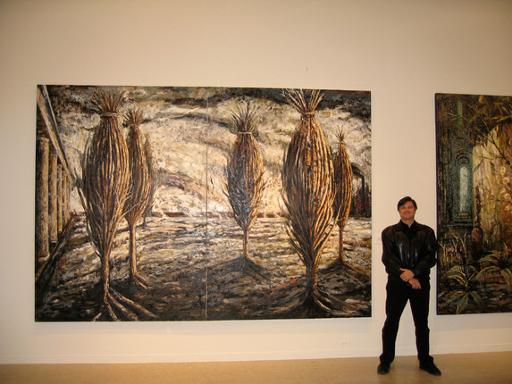 """""""Courtyard of Bound Trees"""", 2001-2004, oil on linen, 100"""" x 144"""", acquired by the Art Museum of South Texas in 2006"""