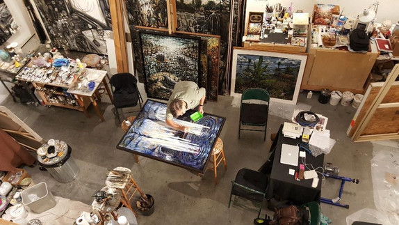 Michael working at his studio