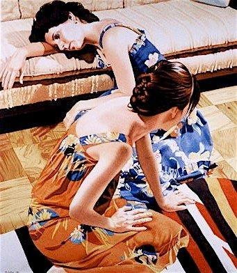 Two Models Seated with Mexican Rug