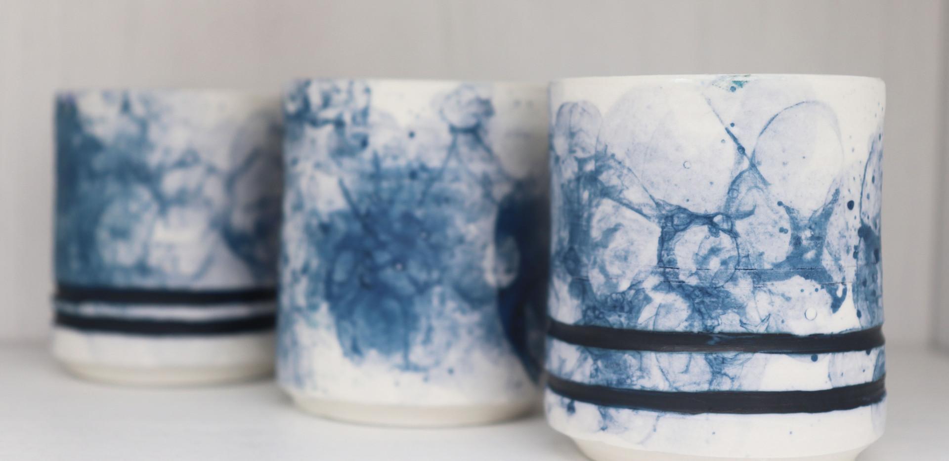 Marine blue cactus pots