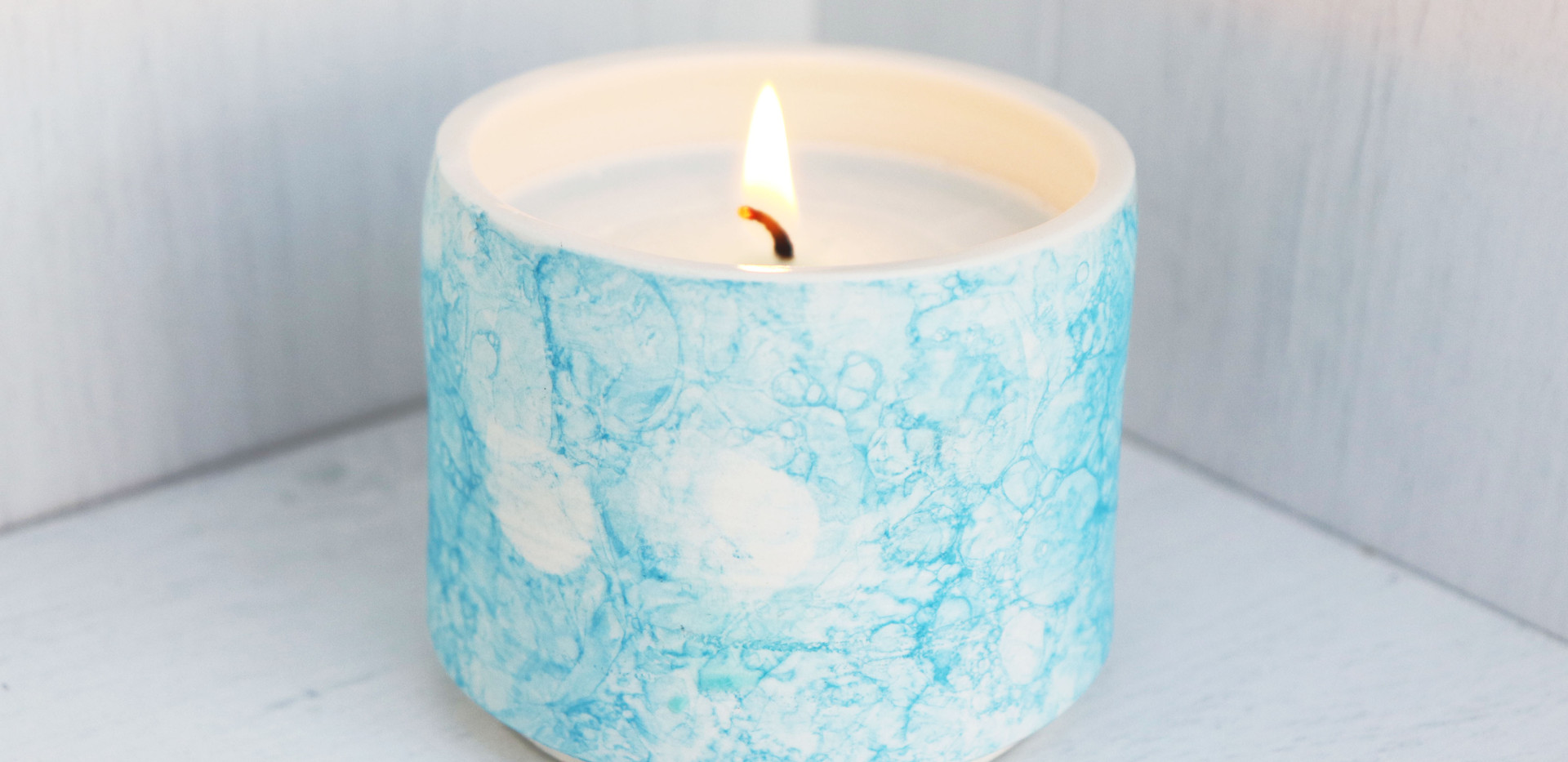 Candle in a pot, Sky Blue.
