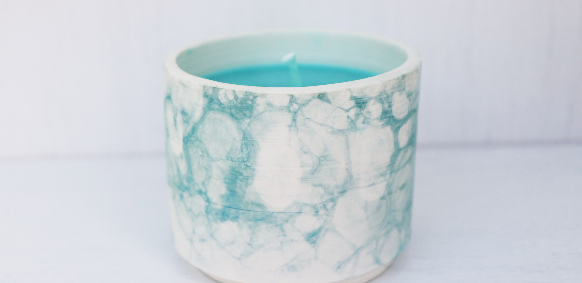 Candle in a pot, Turquoise.