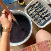 Indigo Dyeing Linen Napkins