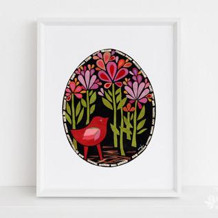 Scarlet Bird in the Midnight Garden
