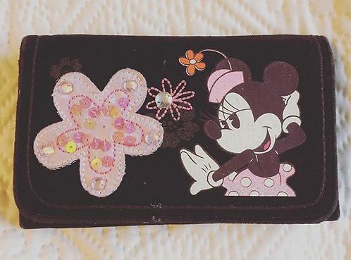 Porte feuille enfant marron velour Minnie Mouse Disney