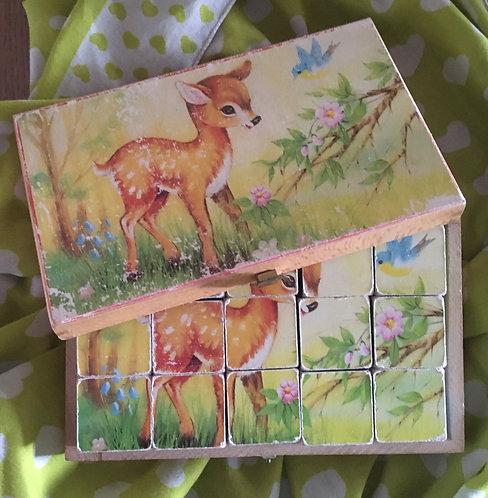 Puzzle cubes en bois vintage Animaux de la ferme .