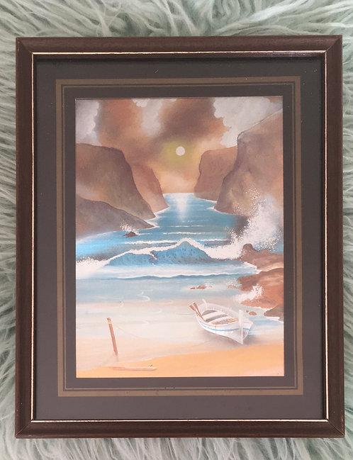 Cadre relief paysage mer bateau