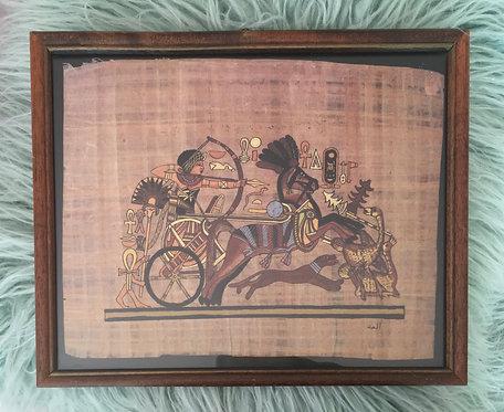 Cadre Papyrus Char & Cavalier . Cheval Egypte .