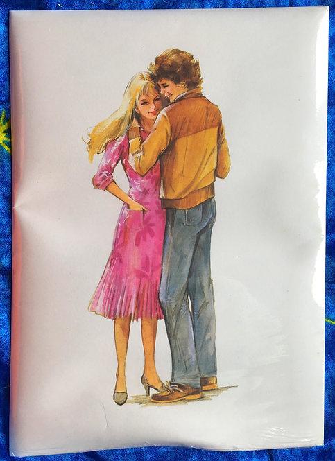 Papier à lettres vintage. Couple Amour fond blanc. 10 feuilles & 10 enveloppes