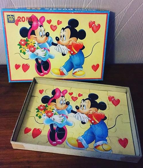 Puzzle vintage 20 pièces Minnie & Michey Mouse