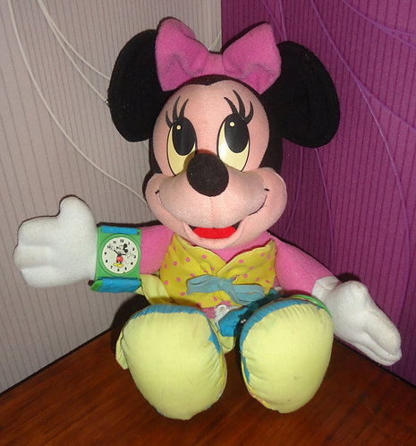Peluche Disney Minnie Mouse bouton Mickey Vintage .