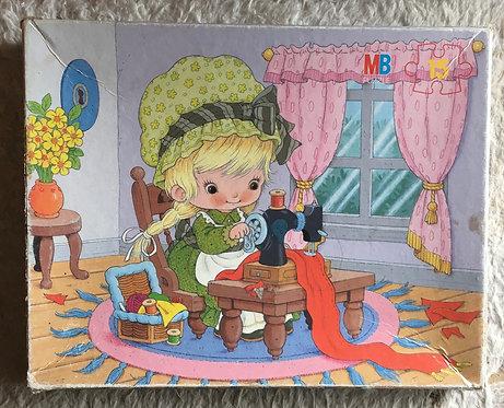 Puzzle enfant, petite fille . illustration vintage .