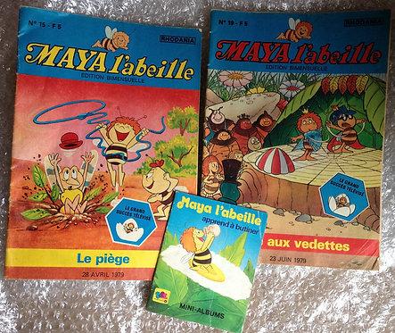 Lot 3 livres magasines Maya l'abeille Rhodania 1979 Le piège Place aux vedettes
