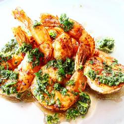 Cajun shrimp and kaffir chimichurri