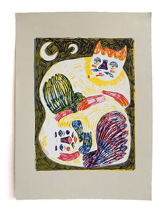 'Cat on Dog' Screenprint by Maria Tolia