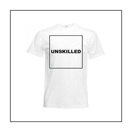 White unisex 'UNSKILLED' T-shirt by Sophie Stewart