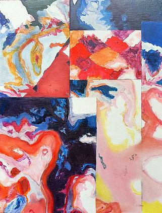 'Colour Cells' Oil on Board by Aqsa Arif