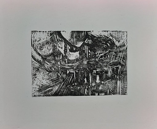 'drink 4 the table' Relief print by Connor Ross