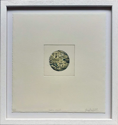 'Green Paint' Dry point etching with lithograph collage by Josephine Welsh