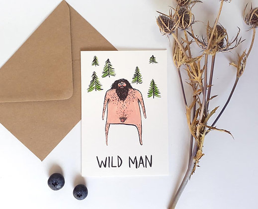 'Wild Man' Greetings card by Harriet Orey-Godden