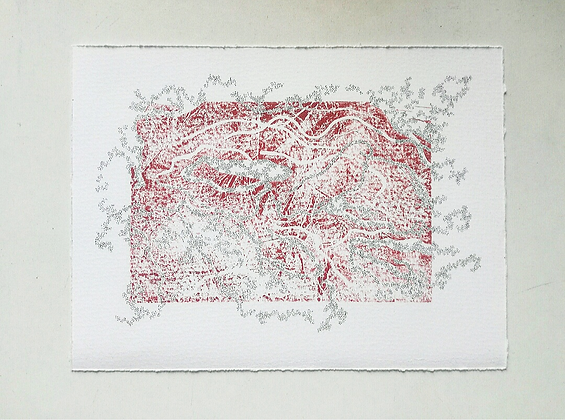 'Pulpit Hum' linocut by India Boxall