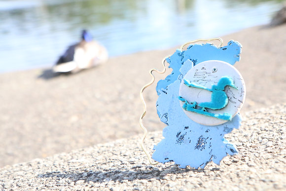 'Fuzzy Blue Bird' Brooch by Kim Tiong