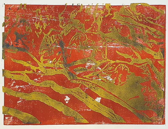 'Red Room' Woodcut by Aqsa Arif