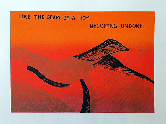 'Like the Seam of a Hem' Screen print by Aqsa Arif