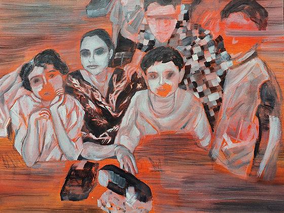 'Fading' Oil on board by Aqsa Arif