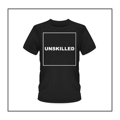 Black unisex 'UNSKILLED' T-shirt by Sophie Stewart