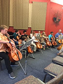 Cello orchestra performance