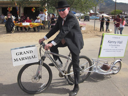 2014 Old Miner's Day Grand Marshal, Ronald H. Hall (1940-2017), honoring his father, Chloride hardrock miner Kenny Hall.
