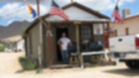 Owner Mike Wurdeman in front of Miner's Shack Mercantile.