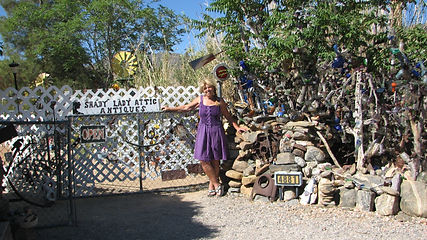 Owner Sharron Raschke Gittings in front of her store, Shady Lady Attic Antiques, in Chloride, Arizona.