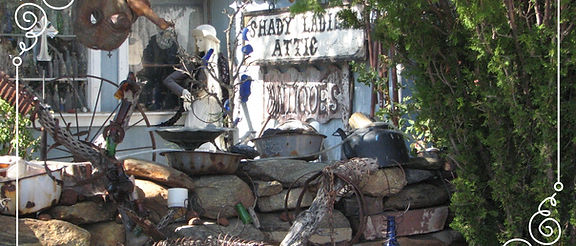 Walking into Shady Lady's Attic Antiques in Chloride, Arizona.