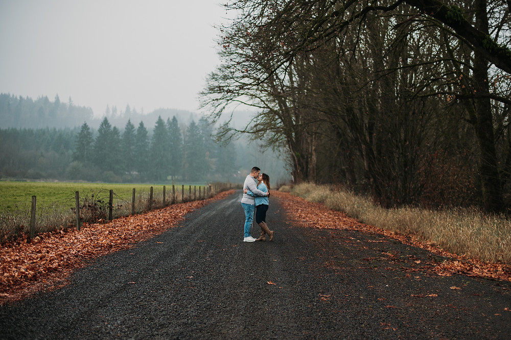 Couple kissing in Chehalis, WA during their Engagement session by Cherish Shanell Photography