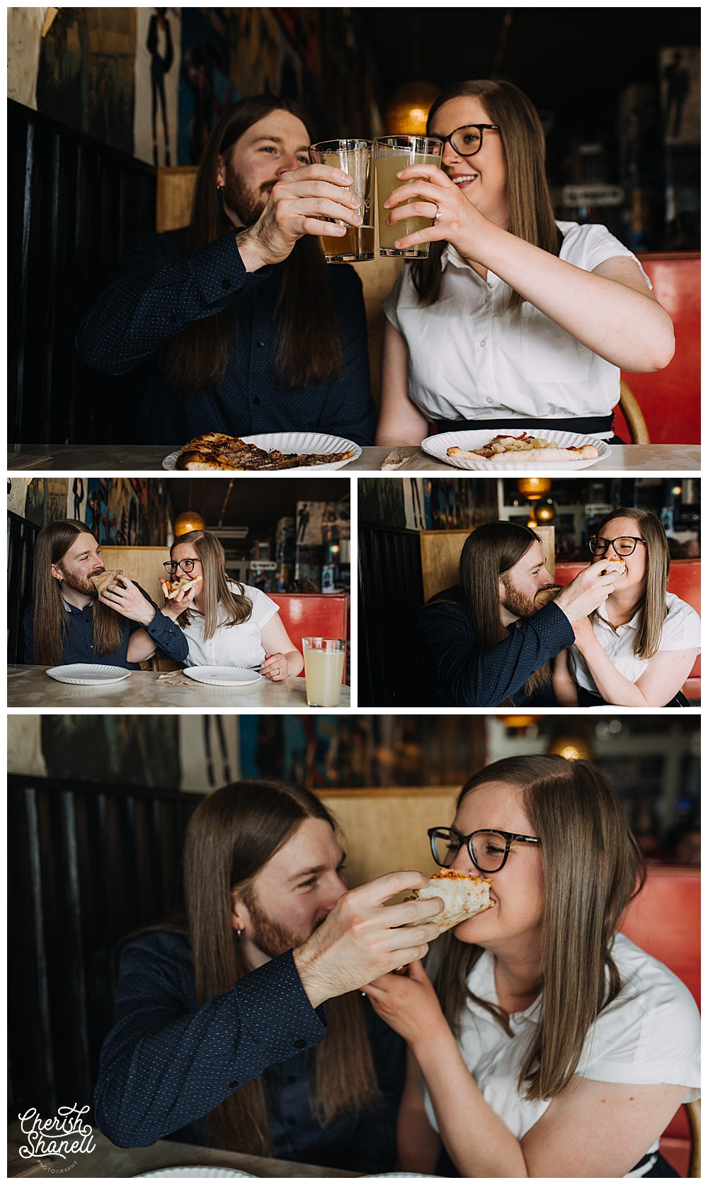 Old School Pizzeria Engagement Session - Olympia Photographer - Cherish Shanell Photography