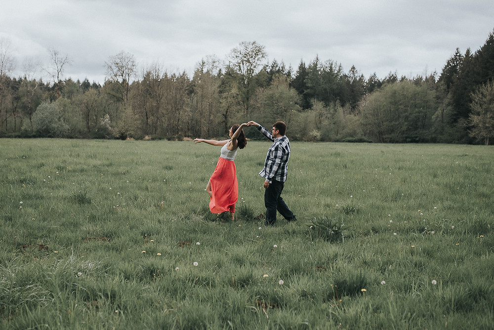 Olympia Engagement Photography Couple Dancing in a field Washington State