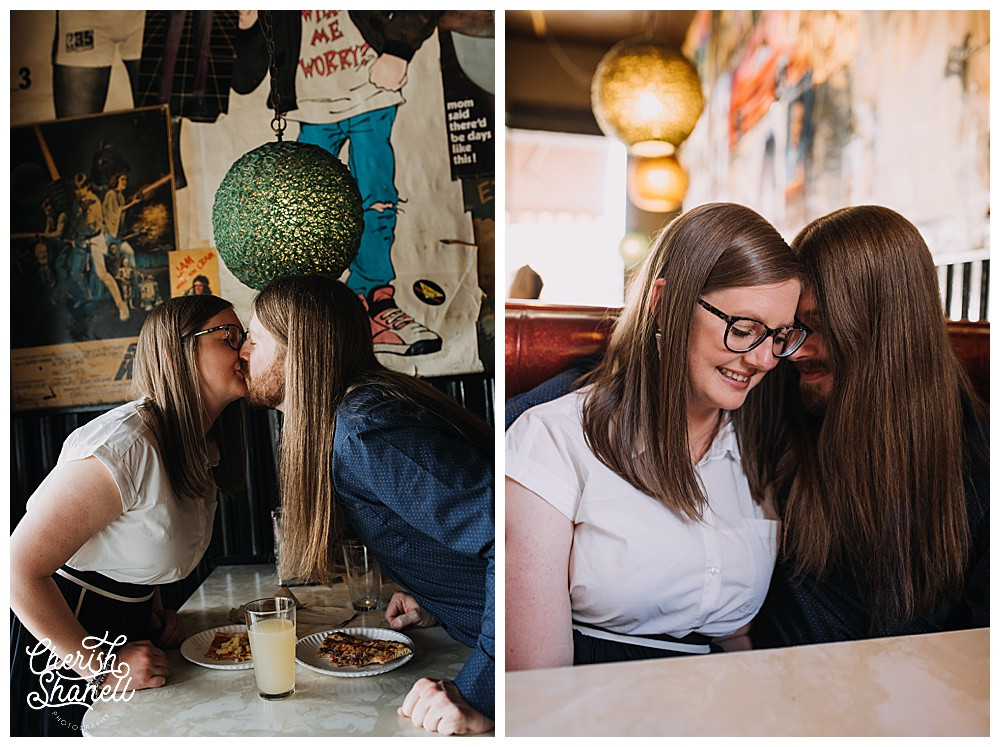 Oldschool Pizzeria Engagement Session - Olympia Photographer - Cherish Shanell Photography