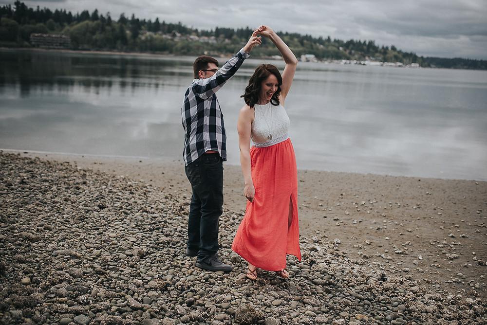 Olympia, WA Engagement Couple Dancing