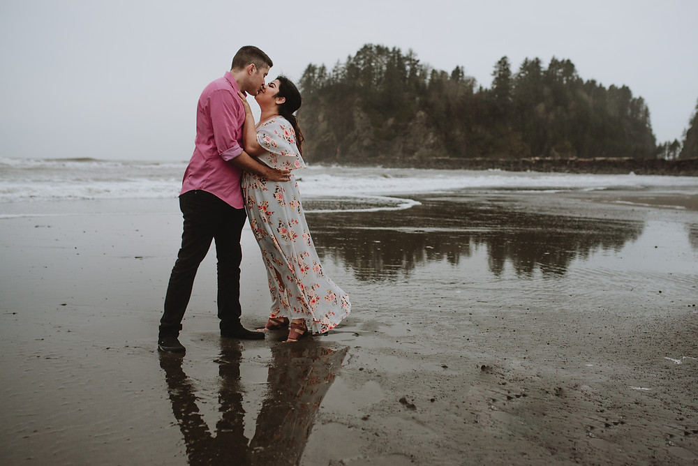 Couple dancing at Owen Beach during their Engagement session by Cherish Shanell Photography
