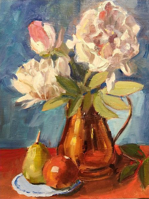 Peonies and Copper Vase